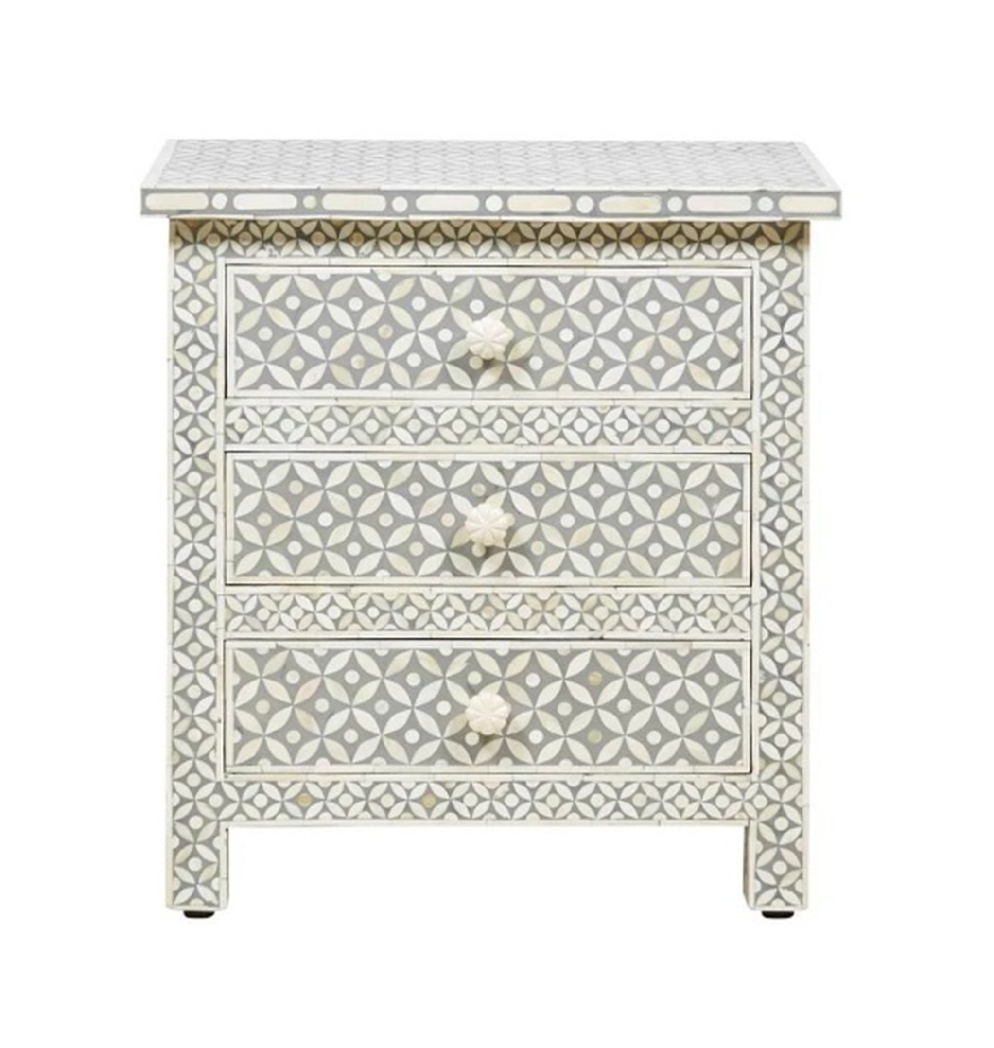 Bone Inlay 3 Drawer Large Bedside Table Geometric Design In Light Grey Color