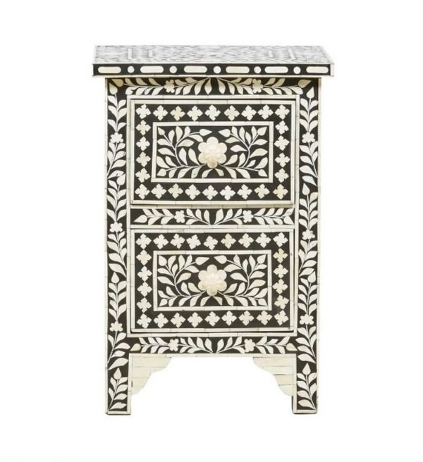 Bone Inlay Black bedside Table Floral