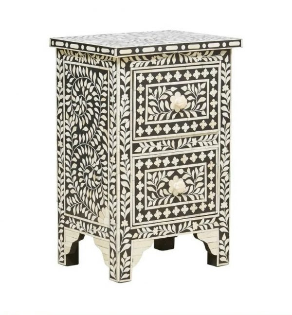 Bone Inlay Nightstand Table Black Floral