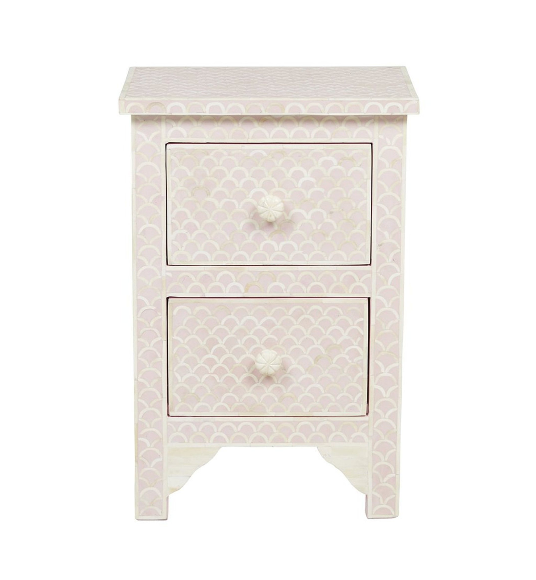 Bone Inlay Bedside Table Fish Scale Design In Blush Pink Color