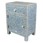 Bone inlay Floral Design Bedside Table in Aqua Blue Color