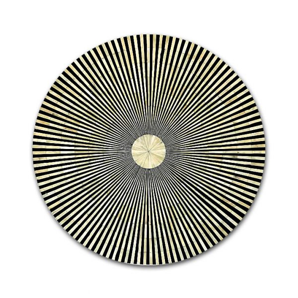 Bone Inlay Coffee Table Black Round Stripe Design