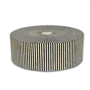 Stripe Design Round Bone Inlay Coffee Table in Black Color