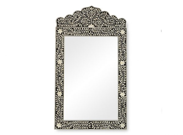 Bone Inlay Crested Floral Design Mirror in Black Color
