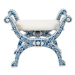 Bone Inlay Floral Design Jenny Stool in Blue Color