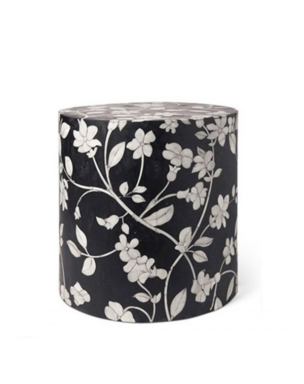 Bone Inlay Round Floral Design Stool in Black Color
