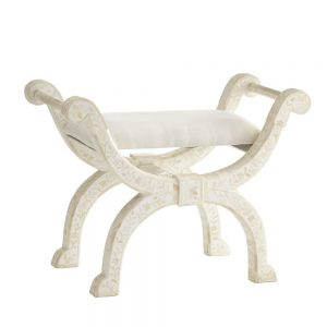 Bone Inlay Floral Design Jenny Stool in White Color