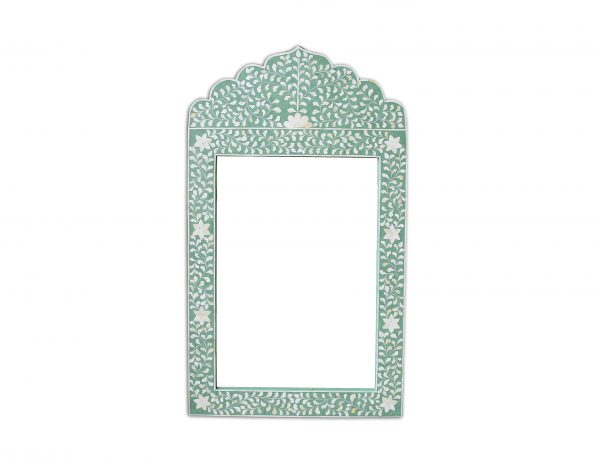 Bone Inlay Crested Floral Design Mirror Frame in Green Color