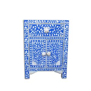 Bone Inlay Floral Design 1 Drawer and 2 Door Bedside Table in Blue Color
