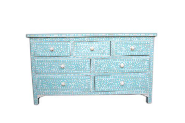 Bone Inlay Chest of 7 Drawers Floral Design in Turquoise Color