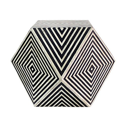 Bone Inlay Octagonal Side Stool in Black Color