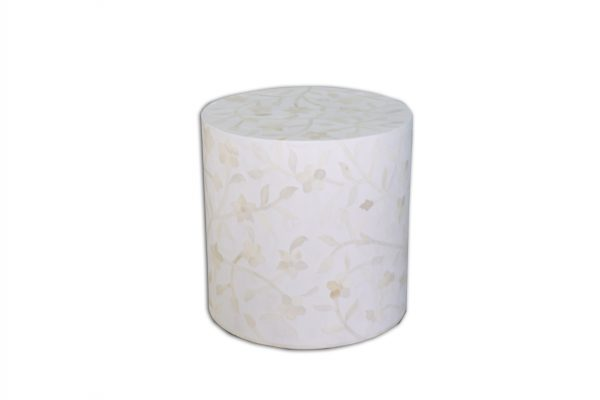 Bone Inlay Round Floral Design Stool in White Color