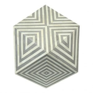 Bone Inlay Octagonal Side Stool in Grey Color