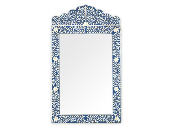 Bone Inlay Crested Floral Design Mirror Frame in Blue Color