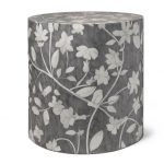 Bone Inlay Round Floral Design Stool in Grey Color