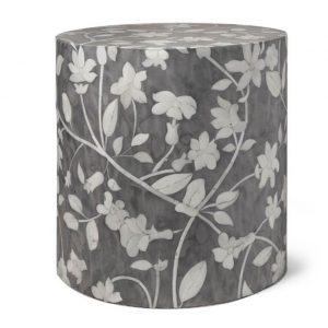 Bone Inlay Round Floral Design Stool in Grey Color