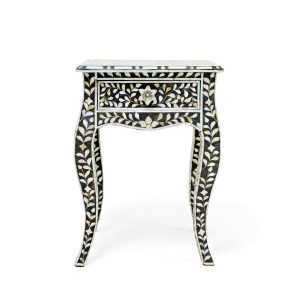 Mother of Pearl Curved Long Leg Side Table in Black Color