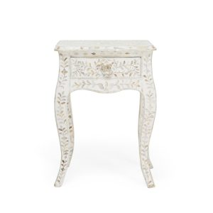 Mother of Pearl Curved Long Leg Side Table in White Color