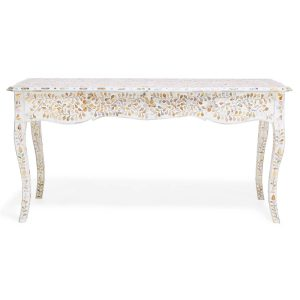Mother of Pearl Floral Design Long Curved Leg Desk in White Color