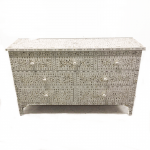 Mother of Pearl Chest of 7 Drawers Floral Design White Color