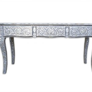 Mother of Pearl Floral Design Long Curved Legs Desk in Grey Color