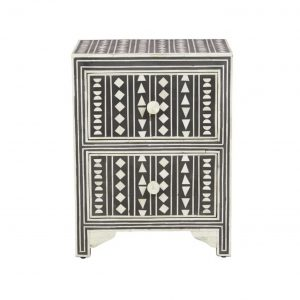 Bone Inlay Small Bedside Table in Black Color