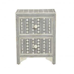 Bone Inlay Bedside Table in Grey Color