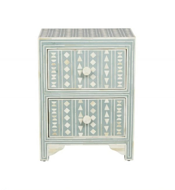 Bone Inlay Small Bedside Table in Peal Green Color