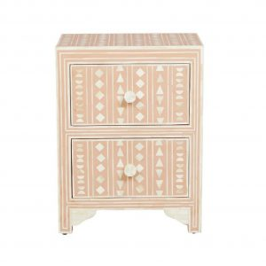 Bone Inlay Small Bedside Table in Pink Color
