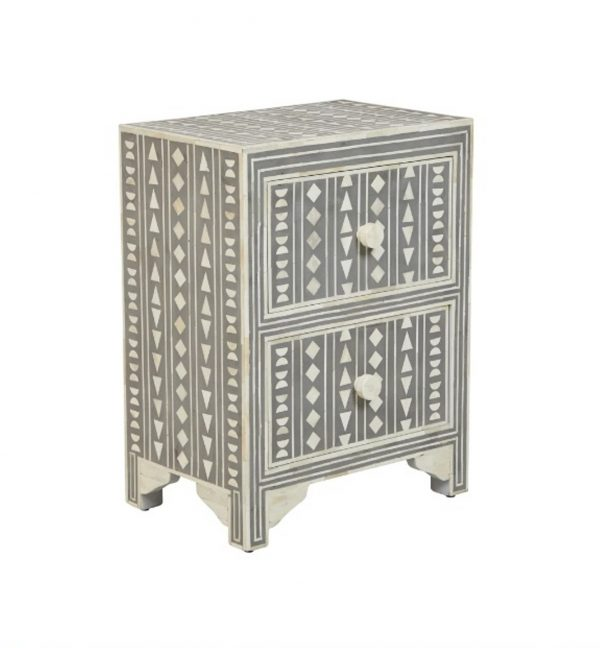 Bone Inlay Nightstand in Grey Color