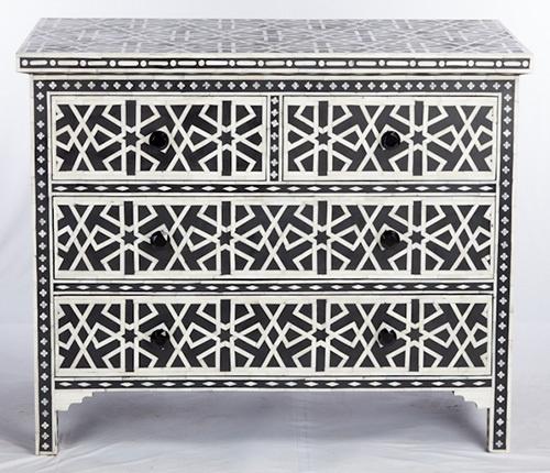 Chest of 4 Drawers Star Geometric Design in Black Color