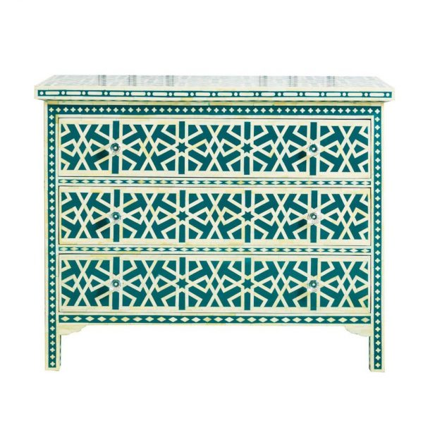 Chest of 3 Drawers Star Geometric Design in Teal Green Color