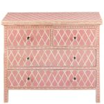 Diamond Design Bone Inlay Chest in Pink Color