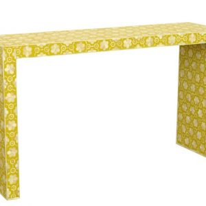Bone Inlay Console Table , Desk , entry way table in yellow color