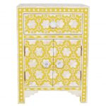 Bone Inlay Bedside Table and Nightstand Table in Yellow Color
