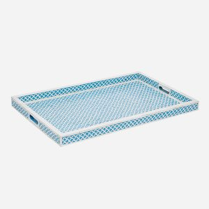 Fish Scale Design Tray in Aqua Blue Color