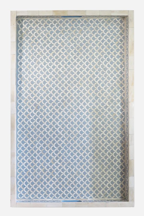 Fish Scale Design Tray in Light Blue Color