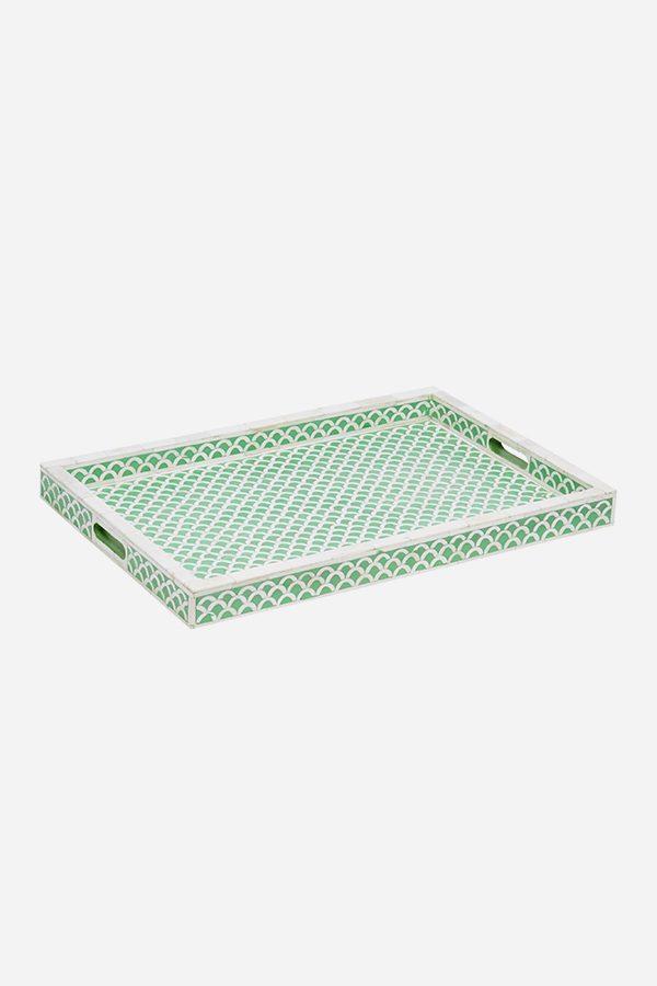 Fish Scale Design Tray in Pea Green Color