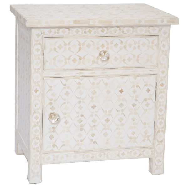 Bone Inlay Nightstand and Bedside White