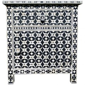 Bone Inlay Bedside Table Black