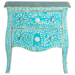 Bedside Table in Turquoise Color