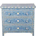 Bone Inlay Chest of 3 Drawers Floral Design in Blue Color