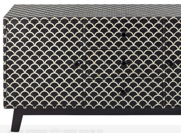 Fish-scale Bone Inlay Scalloped Sideboard in Black Color