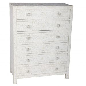 Chest of 6 Drawers Floral Design in White Color