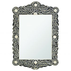 Floral Design Scalloped Mirror in Black Color
