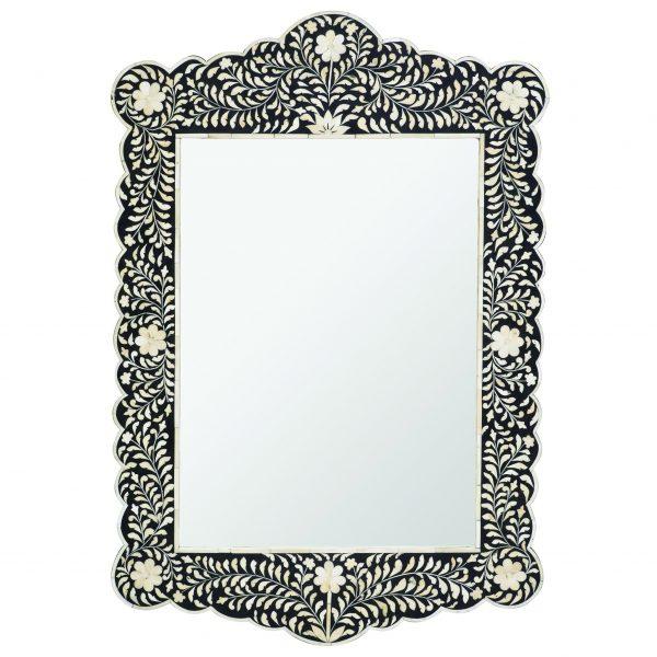 Floral Design Scalloped Mirror in Black Color