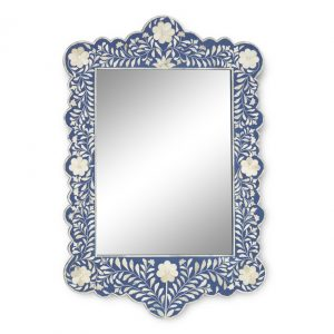Floral Design Scalloped Mirror in Dark Blue Color