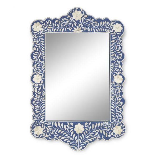Floral Design Scalloped Mirror in Dark Blue Color
