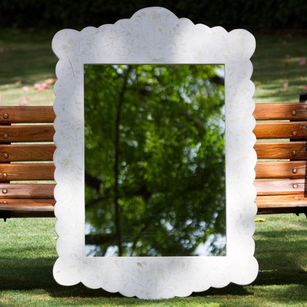 Floral Design Scalloped Mirror in White Color