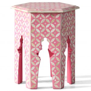 Hexagonal Stool in Pink Color